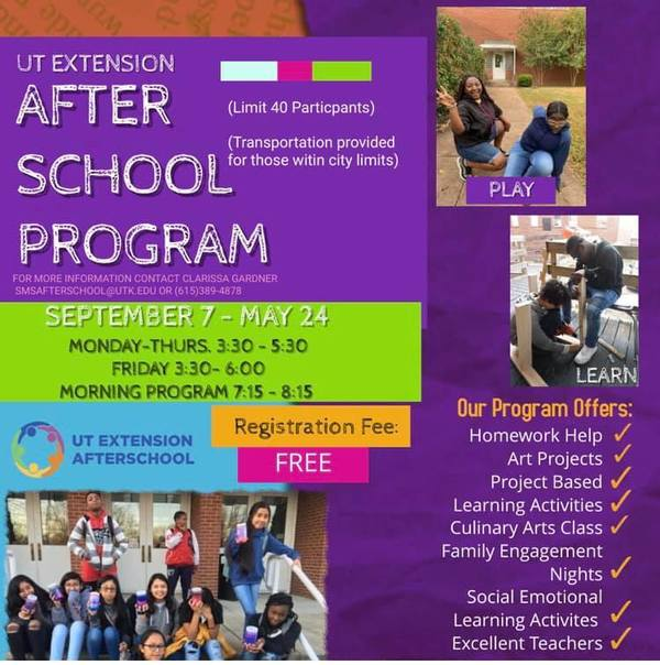 SMS UT Extension Afterschool is still accepting applications. 15 spots left!!