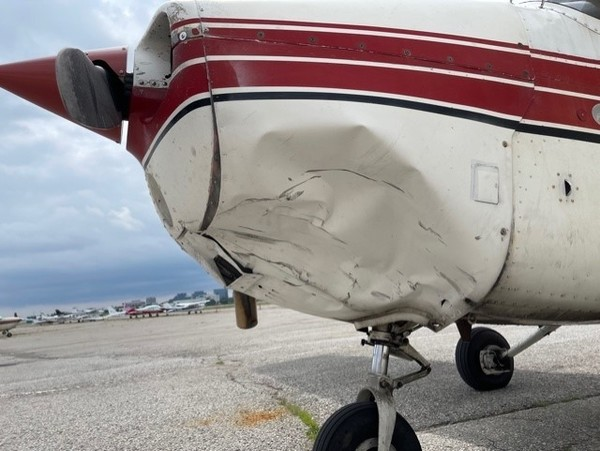 The aftermath of the latest confirmed drone-aircraft collision with a Cessna 172