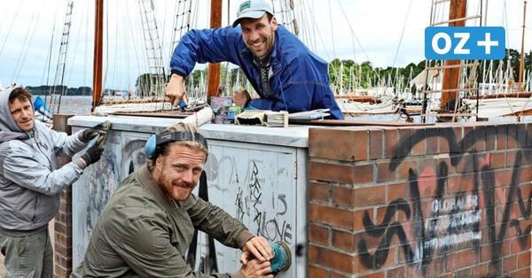 Graffiti-Künstler verschönern Partymeile: Rostocker Stadthafen wird zur Street-Art-Galerie