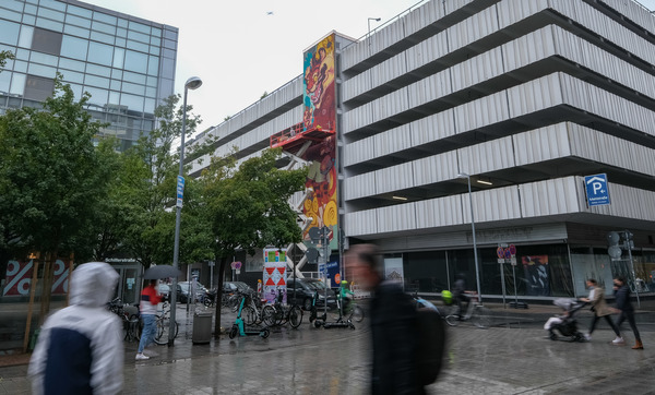 Wandgemälde am Parkhaus an der Mehlstraße. (Foto: Schaarschmidt)