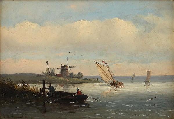 'Flusslandschaft in Holland' 1851 - olieverf op karton: Joseph Hartogensis (herkomst: voorm. coll. Dorotheum)