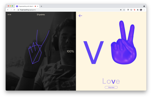"""Yours truly learning to spell """"Love"""" on Fingerspelling"""