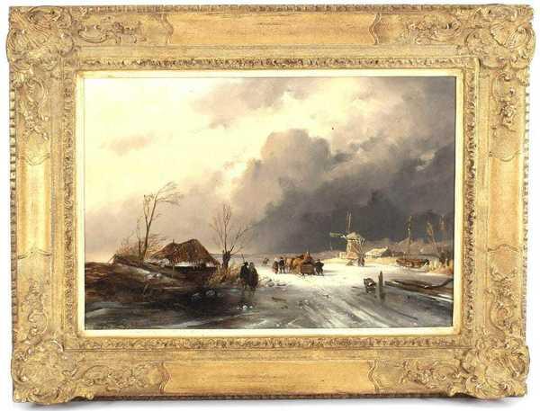 'Winterlandschap met verschillende figuren op het ijs' - olieverf op doek: Joseph Hartogenis (herkomst: voorm. coll. Derksen Veilingbedrijf)