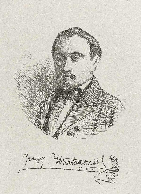 'Zelfportret van Joseph Hartogensis' - ets op chine collé: Joseph Hartogensis (herkoms: coll. Rijksmuseum Amsterdam)