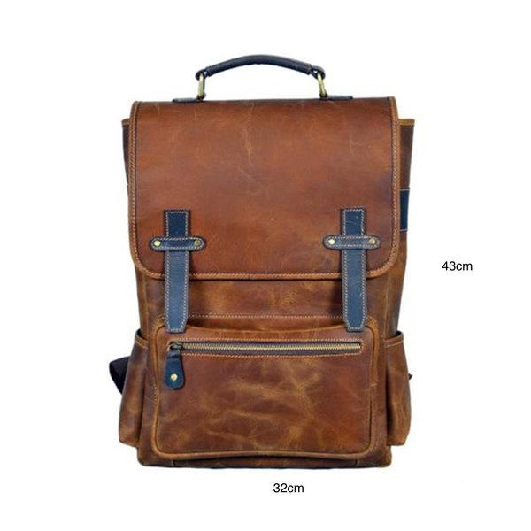 Retro men's leather backpacks