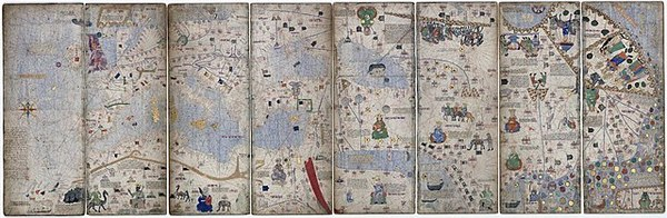 Four leaves (each split in two) of the Catalan Atlas, showing the Mediterranean basin