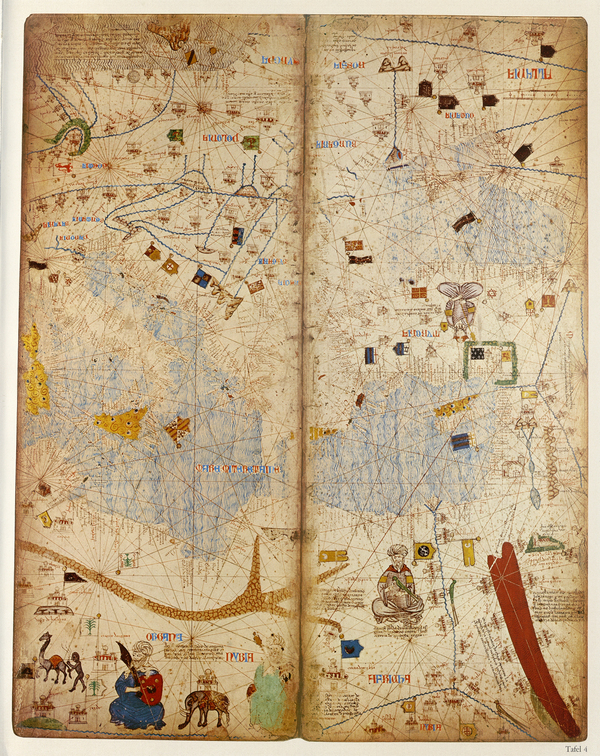 """Leaf IV of the Catalan Atlas, showing the eastern Mediterranean, including the """"Red"""" Sea"""