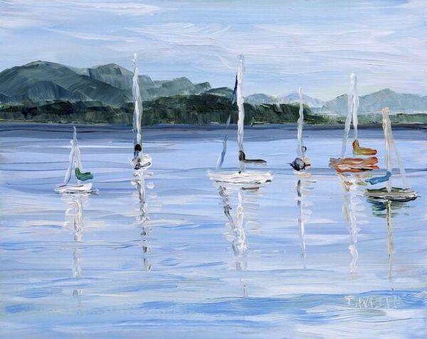 Terrill Welch | Anchored Sailboats Village Bay (2020) | Artsy
