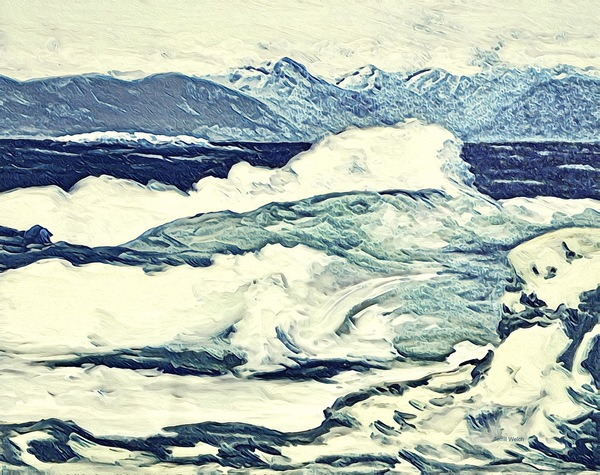 """Wild Seas In Process"" by Terrill Welch, multi media digital sketch"