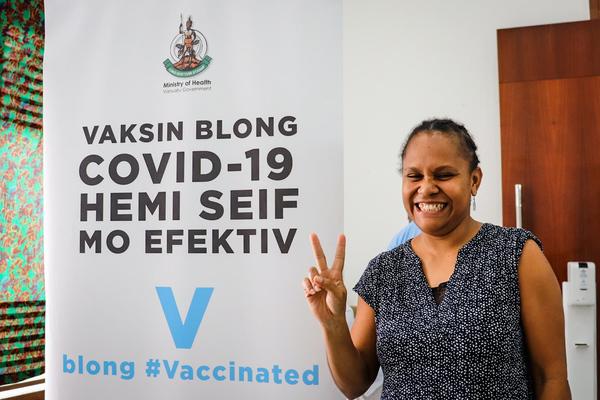 Vanuatu's first female Ni Vanuatu supreme court justice smiles after her 2nd dose