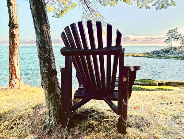 """""""Chair with a View"""" By Terrill Welch, multi media digital sketch"""
