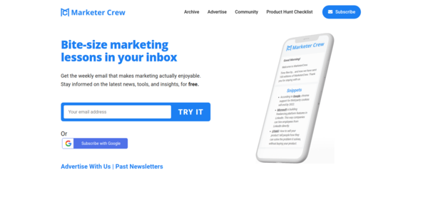 Bite-size marketing lessons in your inbox