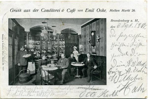 Blick in das Café Oske um 1900. Repro: Sammlung Hesse