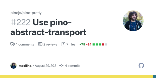 Use pino-abstract-transport by mcollina · Pull Request #222 · pinojs/pino-pretty · GitHub