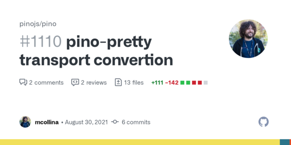 pino-pretty transport convertion by mcollina · Pull Request #1110 · pinojs/pino · GitHub