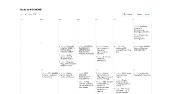 Greater Washington, D.C. Region Calendar