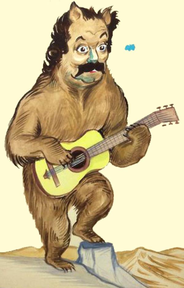 """Brassens, rapproché de l'ours par le caricaturiste Georges Bastia, surnommé le """"Buffon de la caricature""""."""