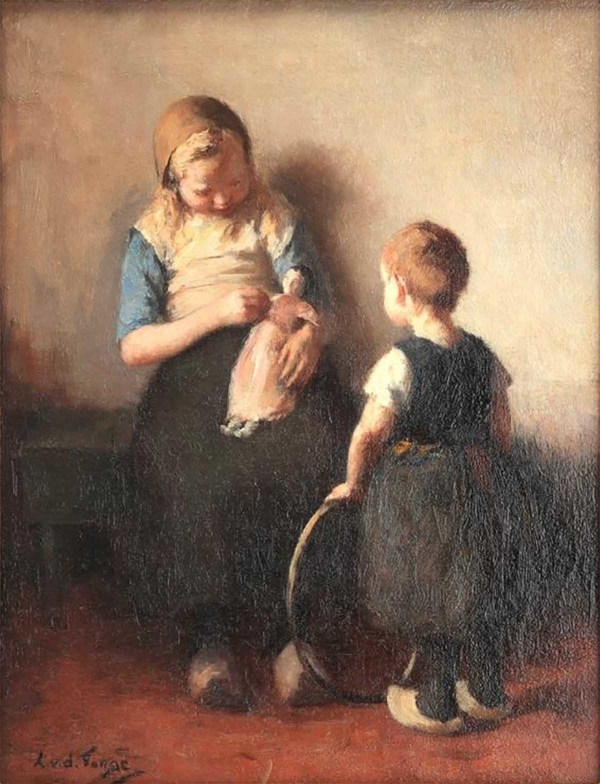 'Kinderen met pop en hoepel' - olieverf op doek: lammert van der Tonge (kavel 330, Derksen Veilingbedrijf)