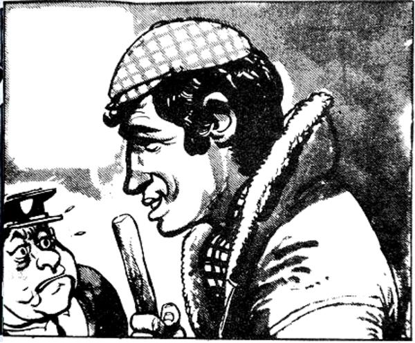 Belmondo caricaturé par Jijé (en balayeur de rue insolent).