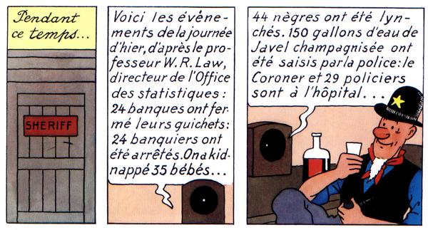 """Cases extraites de """"Tintin en Amérique""""."""
