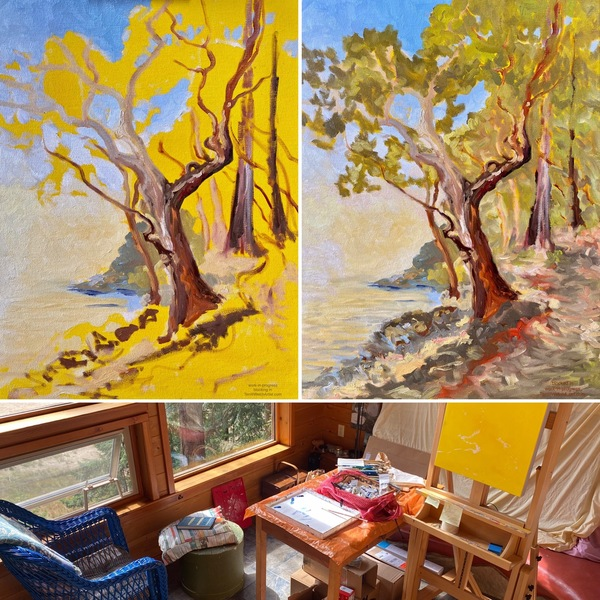 Terrill Welch has an oil painting started in her home studio