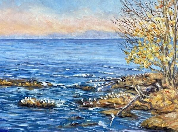 Terrill Welch | Golden Evening Across the Strait of Georgia (2020) | Available for Sale | Artsy