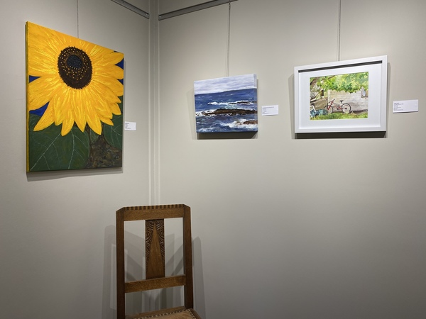 Left to right, paintings by Glenda King, Jody Waldie and Julie Ireton.