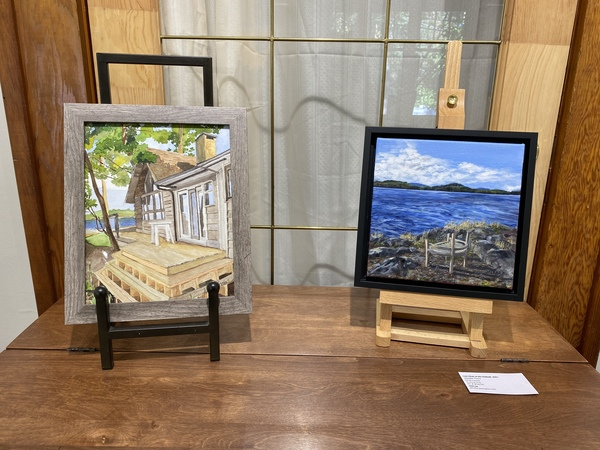 Left to right, paintings by Julie Ireton and Jennifer Peers.