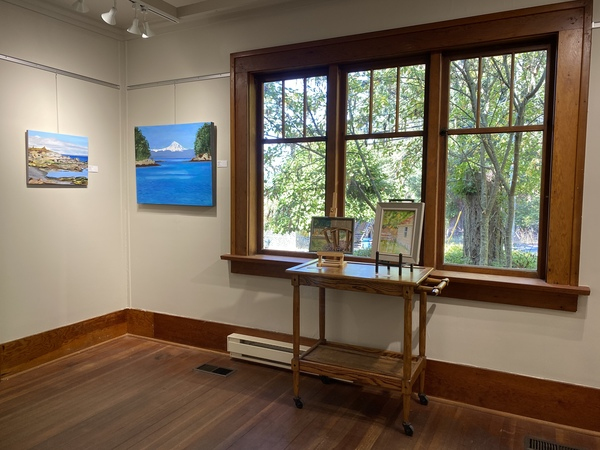 Left to right, paintings by Jody Waldie, (next 2) Maeva Lightheart and Julie Ireton.