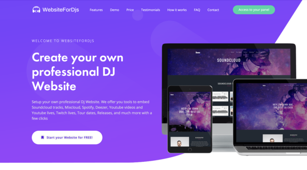 Create your own professional DJ website