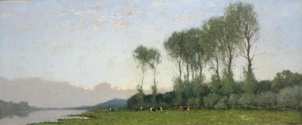 'Panoramisch rivierlandschap met koeien aan de kade' - olieverf op doek: Cornelis Kuypers (kavel 1316, Van Spengen, Hilversum)