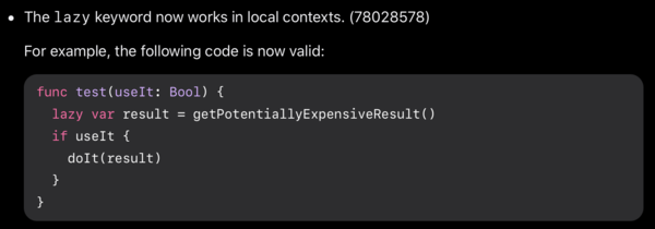 Code example from the release notes