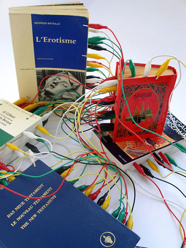 Institute for the future of the book -  artkrush. Installation by Moroccan artist Mounir Fatmi