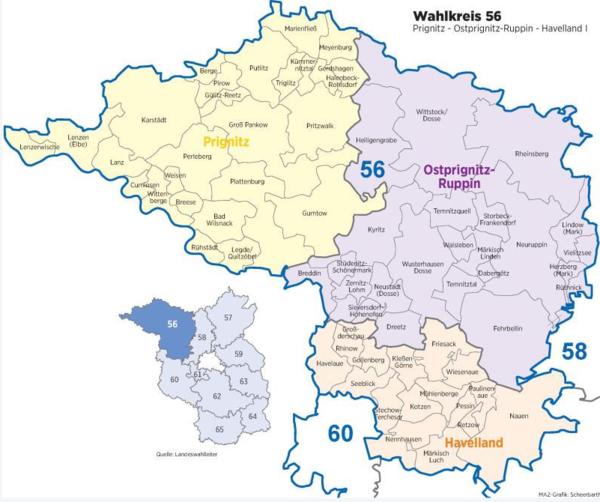 Der Süden des Wahlkreises 56 deckt einen großen Teil des Havellands ab. (Graphik: MAZ/Scheerbarth)