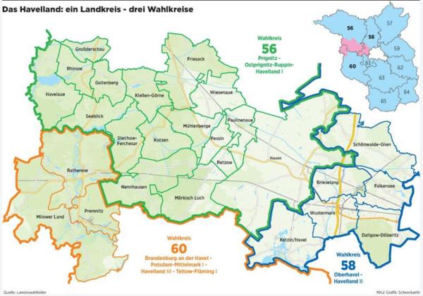 Ein Landkreis - drei Wahlkreise: Das Havelland. (Graphik: MAZ/Scheerbarth)