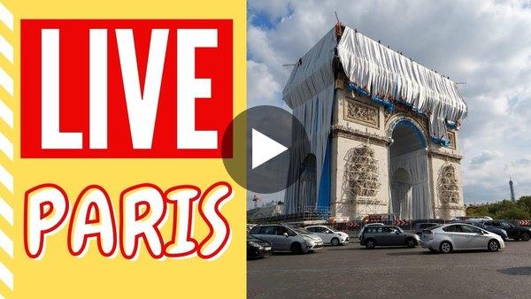 The Arc de Triomphe wrapped by Christo - LIVE PARIS