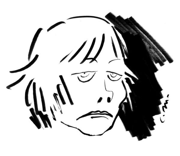 Claire Bretécher caricaturée par Catherine Meurisse (2021).