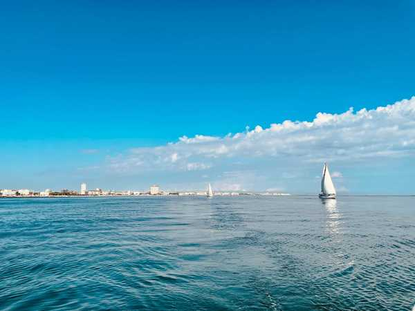 Photo of Milano Marittima taken from the sea, shot by my colleague Cody