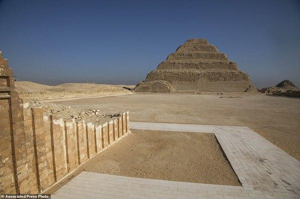 Wall of Southern tomb with Saqqara Step Pyramid