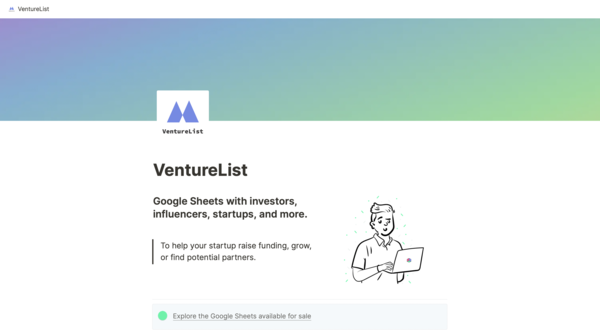 Google Sheets with investors, influencers, startups, and more.