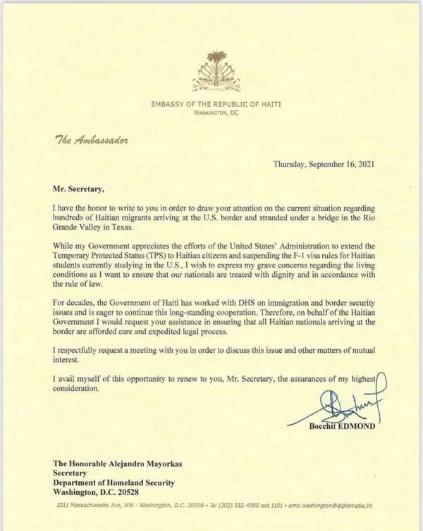 Lettre de l'ambassadeur haitien à Washington Bocchit au ministre américain de la Sécurité térritoriale