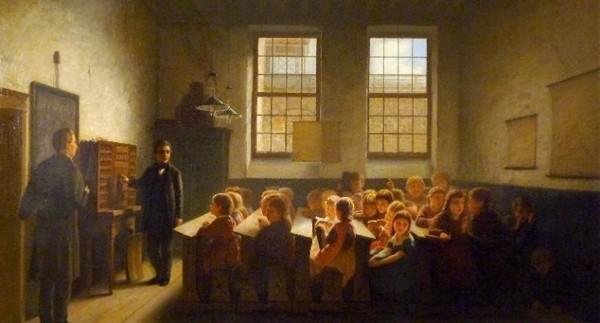 'De armenschool' 1876 - olieverf op doek: Jacob Taanman (herkomst coll. Museum of Art in Victoria, Australië)