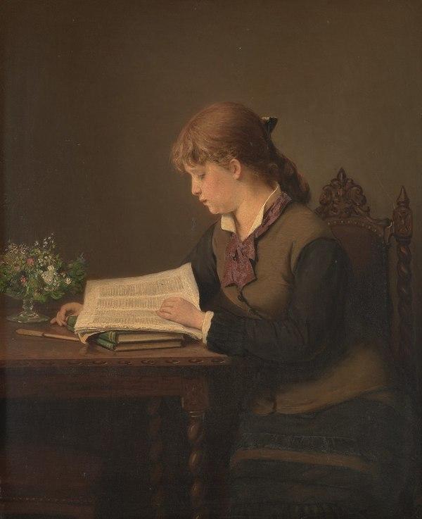 'Lezend meisje' 1880 - olieverf op paneel: Jacob Taanman (herkomst: coll. Amsterdam Museum)