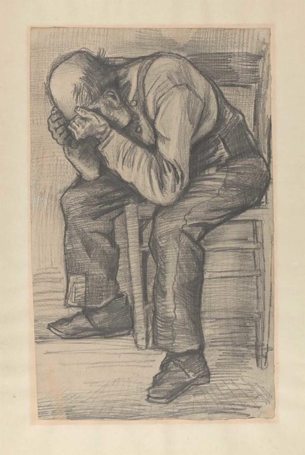 'Versleten', rond 24 november 1882 - timmermans potlood op aquarel papier: Vincent van Gogh (herkomst: Privécollectie).