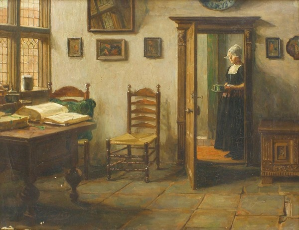 'Holländisches Interieur mit stehender Frau im Türrahmen' - olieverf op doek: Nicolaas van der Waay (herkomst: coll. Auktionhaus Quintin, kavel 104)