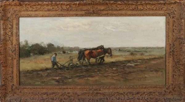 'Ploegende boer met paardenspan' - olieverf op doek: W.G.F. Jansen (kavel 1390, Twents Veilinghuis)