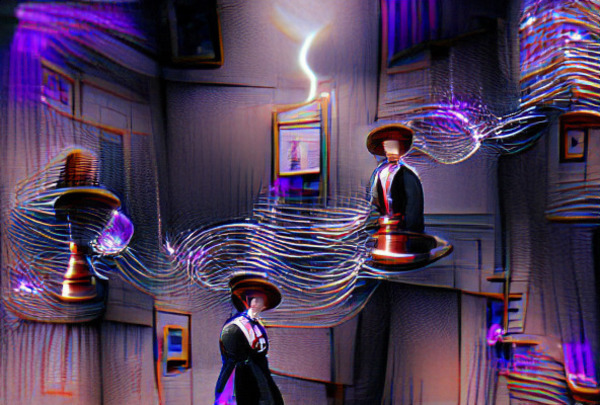 VQGAN + CLIP poster for The Prestige, one of my favorite movies, which features Tesla coils and disappearing magicians. (Noah Veltman)