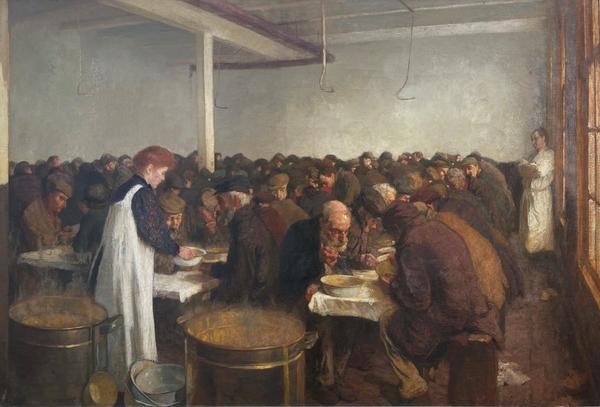 'Interieur voormalige volksgaarkeuken voor minderbedeelden, Amsterdam' - olieverf op doek: Ferdinand Oldewelt (kavel 4921, Veilinghuis De Ruiter)