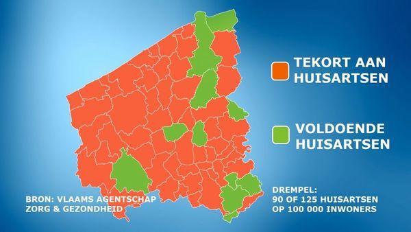 Quatre communes de Flandre occidentale sur cinq ont trop peu de médecins généralistes - Vier op de vijf West-Vlaamse gemeenten hebben te weinig huisartsen