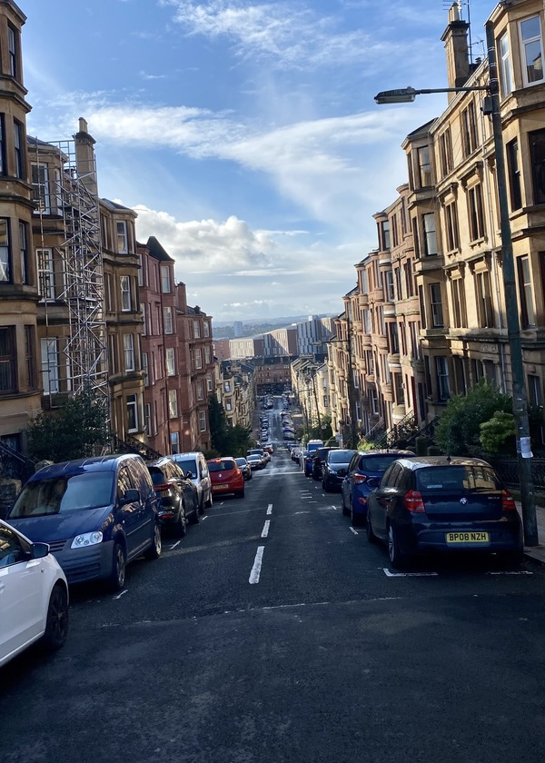 Hill street blues … looking south to Dumbarton Road. Photo: Twitter /GWET